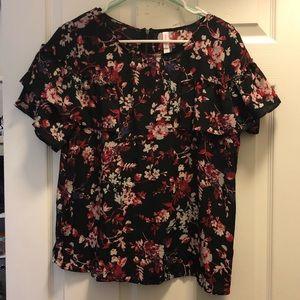 Semi-Sheer floral Ruffle shirt